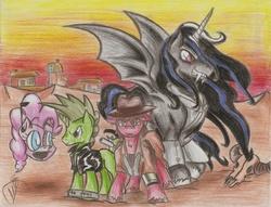 Size: 900x687 | Tagged: safe, artist:smoking-mist, oc, oc only, oc:cherry pie, oc:god, oc:pink-e, alicorn, bat pony, pony, fallout equestria, fallout equestria: new pegas, alicorn oc, skull