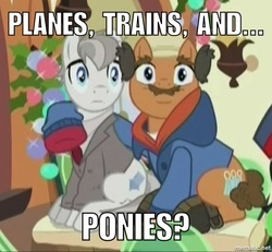 Size: 750x693 | Tagged: safe, edit, edited screencap, screencap, earth pony, pony, hearthbreakers, clothes, coat, cropped, duo, facial hair, jacket, looking at you, male, moustache, neighl page, planes trains and automobiles, ponified, reference, sitting, stallion