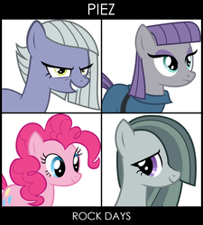Size: 1262x1404 | Tagged: safe, artist:delzepp, limestone pie, marble pie, maud pie, pinkie pie, hearthbreakers, album cover, demon days, gorillaz, image macro, meme, parody, pie sisters, pie twins, ponified album cover, siblings, twins