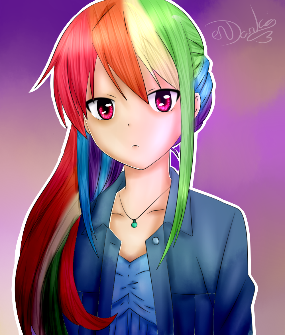 #1010199   Anime, Artist:rubyblossomva, Clothes, Human, Humanized,  Necklace, Pendant, Rainbow Dash, Safe, Signature, Solo   Derpibooru   My  Little Pony: ...