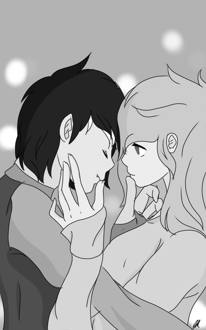 1010382 anime artistcute pinkie7 base used couple discord discoshy female fluttershy grayscale human humanized love male monochrome safe