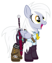 Size: 1843x2200 | Tagged: safe, artist:pixelkitties, derpy hooves, pegasus, pony, bandage, boots, ciri, clothes, costume, crossover, female, mare, nightmare night costume, open mouth, shoes, simple background, smiling, solo, sword, the witcher, the witcher 3, transparent background, weapon, white hair