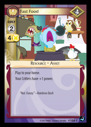 Size: 339x474 | Tagged: bear, bird, card, cauldron, ccg, chicken, enterplay, fast food, harry, high magic, merchandise, nose in the air, owl, pun, rainbow dash, safe, yelling