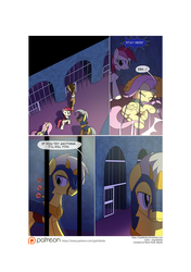 Size: 3541x5016 | Tagged: safe, artist:gashiboka, doctor whooves, fluttershy, roseluck, time turner, earth pony, pegasus, pony, comic:recall the time of no return, cell, comic, patreon, patreon logo, prison, royal guard