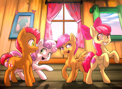 Size: 2750x2000 | Tagged: safe, artist:voxelfyre, apple bloom, babs seed, scootaloo, sweetie belle, crusaders of the lost mark, backwards cutie mark, clubhouse, crusaders clubhouse, cutie mark, cutie mark crusaders, the cmc's cutie marks