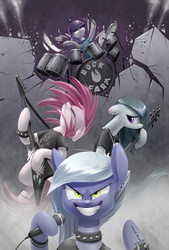 Size: 1181x1748 | Tagged: safe, artist:underpable, limestone pie, marble pie, maud pie, pinkie pie, earth pony, pony, badass, band, bracelet, choker, clothes, drums, ear piercing, earring, electric guitar, epic, eyebrow piercing, female, flying v, fuck yeah, grin, guitar, hardcore, headbang, heavy metal, helmet, jewelry, mare, metal, metal as fuck, microphone, middle finger, musical instrument, necklace, pickelhaube, pie sisters, piercing, pinkamena diane pie, playing instrument, punk, punkamena, punkie pie, rock (music), rock farm, shirt, spiked choker, spiked wristband, t-shirt, tattoo