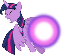 Size: 3141x2715 | Tagged: artist:mit-boy, dark magic, equestria girls, eyes closed, friendship games, help, magic, pony, role reversal, safe, simple background, solo, struggling, transparent background, twilight sparkle, twilight sparkle (alicorn), vector