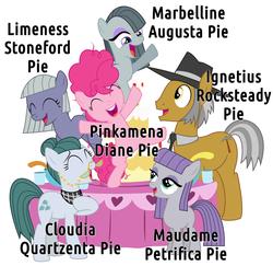 Size: 1233x1198   Tagged: safe, artist:masem, cloudy quartz, igneous rock pie, limestone pie, marble pie, maud pie, pinkie pie, earth pony, pony, blank flank, family, female, filly, full name, headcanon, jossed, male, mare, pie family, pie sisters, pinkamena diane pie, quartzrock, siblings, simple background, sisters, stallion, white background