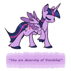 Size: 500x500   Tagged: safe, artist:selective-yellow, twilight sparkle, alicorn, classical unicorn, pony, cloven hooves, eyes closed, female, leonine tail, mare, ponypeptalk, quote, simple background, solo, twilight sparkle (alicorn), unshorn fetlocks, white background