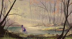 Size: 2220x1200 | Tagged: dead source, safe, artist:shamanguli, twilight sparkle, alicorn, pony, crepuscular rays, female, forest, leaves, mare, marsh, scenery, scenery porn, solo, tree, twilight sparkle (alicorn), water