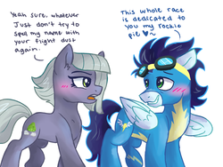 Size: 1024x768 | Tagged: artist:dreamscapevalley, blushing, comic, crack shipping, dialogue, female, heart, limestone pie, limetsun pie, limin', looking at each other, male, open mouth, pony, safe, shipping, simple background, smiling, soarin', straight, tsundere, white background, wonderbolts uniform
