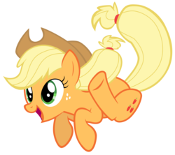 Size: 7900x7000 | Tagged: safe, artist:tardifice, applejack, pony, the cutie map, absurd resolution, cowboy hat, female, hat, jumping, open mouth, silly, silly pony, simple background, smiling, solo, stetson, transparent background, vector, who's a silly pony