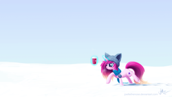 Size: 2560x1440 | Tagged: safe, artist:joellethenose, oc, oc only, oc:cerise, pony, unicorn, angry, clothes, coffee, cold, female, frown, glowing horn, hat, magic, mare, scarf, signature, sky, snow, solo, telekinesis, walking, winter