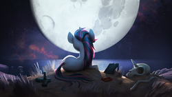 Size: 1920x1080 | Tagged: safe, artist:makkon, oc, oc only, oc:blackjack, unicorn, fallout equestria, fallout equestria: project horizons, beach, cassette tape, cliff, fanfic, fanfic art, gun, horn, looking away, mare in the moon, moon, night, night sky, ocean, picture, pistol, reflection, sad, skeleton, skull, sky, solo, stars, suicide, weapon