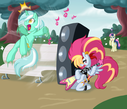 Size: 1482x1271   Tagged: safe, artist:lordstevie, bon bon, lyra heartstrings, sweetie drops, oc, oc:poodle hair, amplifier, anatomically incorrect, bass cannon, bench, death metal, electric guitar, funny, guitar, incorrect leg anatomy, multicolored mane, music, musical instrument, prank, rock (music), rock n' roll, scared, sitting lyra, speaker, startled