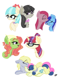 Size: 768x1024 | Tagged: alternate hairstyle, artist:php76, bon bon, chest fluff, coco pommel, coctavia, crack shipping, derpybon, derpy hooves, female, hug, kissing, lesbian, mare, minuette, minupie, moondancer, nuzzling, octavia melody, pegasus, pinkamena diane pie, pinkie pie, pony, safe, shipping, simple background, sweetie drops, transparent background, treedancer, tree hugger, winghug