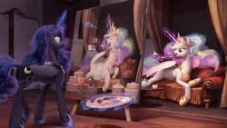Size: 1920x1080 | Tagged: safe, artist:cannibalus, princess celestia, princess luna, alicorn, pony, tabun art-battle, :t, artception, best sisters, cake, cakelestia, caricature, chubbylestia, close enough, cute, cutelestia, draw me like one of your french girls, drawing, duo, duo female, eating, ethereal mane, ethereal tail, fat, featured image, female, food, funny, funny as hell, goblet, ice cream, levitation, lidded eyes, lunabetes, magic, nailed it, obese, open mouth, painting, prank, prone, royal sisters, sibling rivalry, smiling, smirk, sweet dreams fuel, tabun art-battle cover, tea, teacup, teapot, technically advanced, telekinesis, this will end in pain, this will end in tears and/or a journey to the moon, this will not end well, tongue out, trolluna, wallpaper