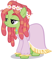Size: 7701x8728 | Tagged: safe, artist:gen-ma, tree hugger, earth pony, pony, make new friends but keep discord, .svg available, absurd resolution, clothes, dress, female, grand galloping gala, hippie, mare, necklace, simple background, solo, transparent background, vector