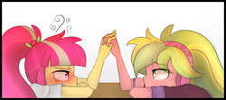 Size: 1280x570 | Tagged: artist:jankrys00, blushing, equestria girls, female, friendship games, lemonsweet, lemon zest, lesbian, safe, shipping, sourdere, sour sweet, tsundere