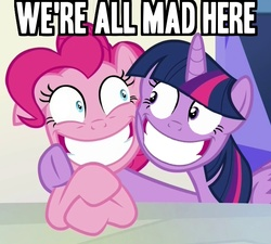 Size: 668x600 | Tagged: safe, edit, edited screencap, screencap, pinkie pie, twilight sparkle, party pooped, alice in wonderland, angry, caption, face swap, image macro, insanity, meme, text, twilight snapple, twilight sparkle (alicorn), we're all mad here