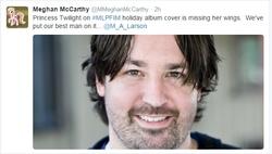 Size: 596x338 | Tagged: safe, human, irl, irl human, m.a. larson, meghan mccarthy, meme, meta, photo, text, thanks m.a. larson, trolling the fandom, twitter