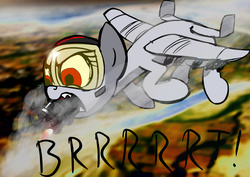 Size: 3458x2455 | Tagged: safe, artist:derkrazykraut, color edit, oc, oc only, oc:blitz, original species, plane pony, pony, a-10 thunderbolt ii, angry, brrrrt, female, firing, flying, frown, gau-8, glare, gun, mare, open mouth, plane, sharp teeth, smoke, solo, teeth, text, weapon