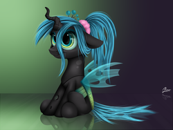 Size: 1600x1200   Tagged: safe, artist:luminousdazzle, queen chrysalis, changeling, changeling queen, nymph, alternate hairstyle, cute, cutealis, female, floppy ears, ponytail, scrunchie, sitting, smiling, solo, young, younger