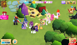 Size: 1024x600 | Tagged: safe, screencap, applejack, fluttershy, pinkie pie, rainbow dash, rarity, star swirl the bearded, twilight sparkle, alicorn, pony, vampire, animal costume, bunny ears, bunny suit, bunnyshy, camp, chicken pie, chicken suit, clothes, costume, everfree forest, female, game screencap, gameloft, mane six, mare, nightmare night, nightmare night rarity, raribat, scarecrow, shadowbolt dash, shadowbolts, shadowbolts costume, turkish, twilight sparkle (alicorn)