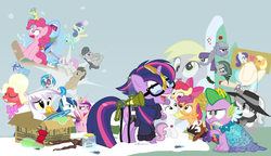Size: 1200x692 | Tagged: safe, artist:dm29, apple bloom, applejack, big macintosh, bon bon, coco pommel, derpy hooves, dj pon-3, doctor whooves, gilda, lemon hearts, limestone pie, lyra heartstrings, marble pie, maud pie, minuette, moondancer, octavia melody, pinkie pie, princess cadance, rainbow dash, rarity, scootaloo, shining armor, smooze, spike, sweetie belle, sweetie drops, time turner, trouble shoes, twilight sparkle, twinkleshine, vinyl scratch, alicorn, griffon, pony, twittermite, amending fences, appleoosa's most wanted, bloom and gloom, brotherhooves social, canterlot boutique, castle sweet castle, crusaders of the lost mark, do princesses dream of magic sheep, hearthbreakers, made in manehattan, make new friends but keep discord, party pooped, princess spike (episode), rarity investigates, slice of life (episode), tanks for the memories, the cutie map, the lost treasure of griffonstone, the one where pinkie pie knows, alternate hairstyle, background six, bedroom eyes, bowtie, box, cardboard box, charlie brown, clothes, crossing the memes, crying, cutie mark, cutie mark crusaders, derpysaur, detective rarity, dress, female, filly, fusion, glasses, hat, i didn't listen, i'm pancake, implied rarijack, it happened, lyrabon (fusion), mare, meme, new crown, ocular gushers, orchard blossom, peanuts, pest control gear, princess dress, punklight sparkle, sled, snow, staff, staff of sameness, sweater, the cmc's cutie marks, the meme continues, the ride never ends, the story so far of season 5, this isn't even my final form, top hat, twilight scepter, twilight sparkle (alicorn), unamused, volumetric mouth, wig