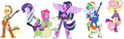Size: 17591x5535 | Tagged: dead source, safe, artist:birdalliance, applejack, fluttershy, pinkie pie, rainbow dash, rarity, twilight sparkle, equestria girls, rainbow rocks, shake your tail, absurd resolution, adobe illustrator, band, bass guitar, boots, clothes, cowboy hat, drum kit, drums, drumsticks, electric guitar, eyes closed, guitar, hat, humane six, keytar, microphone, musical instrument, open mouth, playing, ponied up, simple background, singing, stetson, tambourine, the rainbooms, transparent background, twilight sparkle (alicorn), vector, wristband