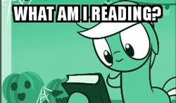 Size: 268x156   Tagged: safe, artist:dori-to, lyra heartstrings, pony, unicorn, comic:silly lyra, book, female, floppy ears, frown, greenscale, hoof hold, image macro, mare, meme, monochrome, reaction image, silly lyra, solo, text, wide eyes