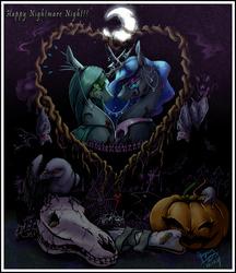 Size: 3157x3656   Tagged: safe, artist:begasus, nightmare moon, queen chrysalis, alicorn, bat, bird, changeling, changeling queen, crow, maggot, rat, spider, worm, bone, chrysmoon, crescent moon, ear piercing, eye contact, eyeshadow, fangs, female, glowing eyes, halloween, heart, horn jewelry, jack-o-lantern, jewelry, lesbian, lidded eyes, looking at each other, makeup, moon, mouth hold, night, nightmare night, piercing, pumpkin, shipping, skull, smiling, spider web