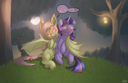 Size: 4000x2600 | Tagged: safe, artist:fluffyxai, fluttershy, twilight sparkle, alicorn, bat pony, pony, :t, apple, apple tree, bedroom eyes, belly button, chest fluff, colored pupils, covering crotch, ear tufts, eye contact, fangs, female, female symbol, flutterbat, frown, full moon, glowing eyes, grass, hug, imminent transformation, lantern, lesbian, lidded eyes, looking at each other, mare, moon, nervous, night, outdoors, pictogram, shipping, signature, sitting, slit eyes, smiling, smirk, spread wings, sweat, sweatdrop, sweet apple acres, tree, twilight sparkle (alicorn), twishy, winghug, wings, worried
