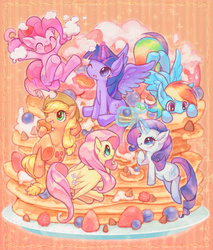 Size: 800x938 | Tagged: safe, artist:notatoron, applejack, fluttershy, pinkie pie, rainbow dash, rarity, twilight sparkle, alicorn, pony, blueberry, cute, female, mane six, mare, pancakes, pixiv, ponies in food, strawberry, twilight sparkle (alicorn), whipped cream