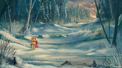 Size: 1920x1079 | Tagged: dead source, safe, artist:shamanguli, fluttershy, bird, pegasus, pony, bird feeder, clothes, cloud, female, forest, mare, scarf, scenery, scenery porn, snow, solo, winter