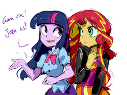 Size: 800x600 | Tagged: safe, artist:rocy canvas, sunset shimmer, twilight sparkle, equestria girls, pixiv, simple background, white background