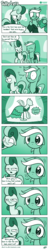 Size: 612x3108 | Tagged: safe, artist:dori-to, bon bon, lyra heartstrings, sweetie drops, earth pony, pony, unicorn, comic:silly lyra, canterlot boutique, bon bon is not amused, clothes, comic, dress, expensive imported oats, female, floppy ears, food, gasp, green background, greenscale, mare, monochrome, narrowed eyes, nodding, oats, princess dress, shrunken pupils, silly lyra, simple background, starry eyes, unamused, wide eyes, wingding eyes