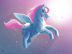 Size: 2000x1488 | Tagged: safe, artist:hinchen, wind whistler, g1, crepuscular rays, female, flying, jumping, looking at you, open mouth, solo, spread wings