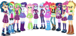 Size: 5500x2588 | Tagged: safe, artist:xebck, applejack, fluttershy, indigo zap, lemon zest, pinkie pie, rainbow dash, rarity, sci-twi, sour sweet, spike, spike the regular dog, sugarcoat, sunny flare, sunset shimmer, twilight sparkle, dog, equestria girls, friendship games, absurd resolution, alternate hairstyle, applejack's hat, balloon, barrette, baubles, belt, boots, bracelet, canterlot high, cardigan, clothes, collar, compression shorts, cowboy boots, cowboy hat, crossed arms, crystal prep academy, crystal prep academy uniform, crystal prep shadowbolts, denim skirt, ear piercing, earring, eyeshadow, female, freckles, glasses, goggles, group, hairclip, hairpin, hand on hip, hand on waist, hands behind back, hands on waist, hat, headphones, high heel boots, humane eight, humane five, humane seven, humane six, jacket, jeans, jewelry, leather jacket, leggings, loose hair, makeup, mane six, necktie, pants, piercing, pigtails, plaid skirt, ponytail, raised leg, rolled up sleeves, school uniform, shadow five, shadow six, shirt, simple background, skirt, smiling, socks, standing, stetson, sweatband, tanktop, transparent background, twintails, uniform, vector, vest, wondercolts, wristband