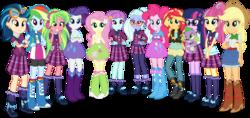 Size: 5500x2588 | Tagged: safe, artist:xebck, applejack, fluttershy, indigo zap, lemon zest, pinkie pie, rainbow dash, rarity, sci-twi, sour sweet, spike, spike the regular dog, sugarcoat, sunny flare, sunset shimmer, twilight sparkle, dog, equestria girls, friendship games, absurd resolution, alternate hairstyle, applejack's hat, balloon, barrette, baubles, belt, boots, bracelet, canterlot high, cardigan, clothes, collar, compression shorts, cowboy boots, cowboy hat, crossed arms, crystal prep academy, crystal prep academy uniform, crystal prep shadowbolts, denim skirt, ear piercing, earring, eyeshadow, female, freckles, glasses, goggles, group, hairclip, hairpin, hand on hip, hand on waist, hands behind back, hands on waist, hat, headphones, high heel boots, humane eight, humane five, humane seven, humane six, jacket, jeans, jewelry, leather jacket, leggings, loose hair, makeup, mane six, necktie, pants, piercing, pigtails, plaid skirt, ponytail, raised leg, rolled up sleeves, school uniform, shadow five, shadow six, shirt, simple background, skirt, smiling, socks, standing, stetson, sweatband, tanktop, transparent background, twintails, uniform, vector, vest, wondercolts, wristband