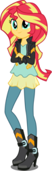 Size: 1640x5316   Tagged: safe, artist:xebck, sunset shimmer, equestria girls, friendship games, absurd resolution, clothes, crossed arms, female, leather jacket, raised leg, simple background, solo, transparent background, vector