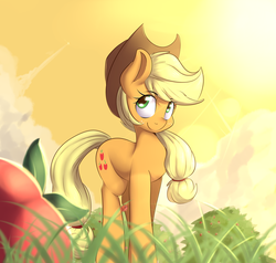 Size: 1280x1220 | Tagged: apple, applejack, apple tree, artist:sourspot, cowboy hat, cute, earth pony, female, grass, hat, jackabetes, ladybug, lens flare, looking at you, mare, pony, safe, smiling, solo, stetson, sunrise, tree