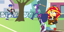 Size: 1140x580 | Tagged: alternate version, alumnus shining armor, apple, artist:dm29, baseball bat, chase, clothes, crystal prep academy uniform, equestria girls, flashabuse, flash sentry, friendship games, overprotective, overprotective armor, running, safe, school uniform, sci-twi, shining armor, shipping denied, sunset shimmer, twilight sparkle