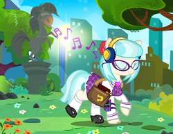 Size: 1200x927 | Tagged: alternate hairstyle, artist:pixelkitties, bag, book, city, clothes, cocobetes, coco pommel, cute, earth pony, eyes closed, female, glasses, headphones, ipod, listening, made in manehattan, manehattan, mare, mp3 player, music, music notes, park, pony, raised hoof, raised leg, saddle bag, safe, schoolgirl, skirt, smiling, solo, statue, sun