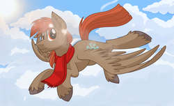 Size: 1480x900 | Tagged: safe, artist:itstaylor-made, oc, oc only, oc:winterlight, pegasus, pony, clothes, cute, flying, scarf, solo