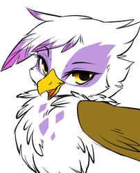Size: 671x830   Tagged: safe, artist:ingi, gilda, griffon, bedroom eyes, chest fluff, cute, female, fluffy, gildadorable, looking at you, open mouth, portrait, simple background, smirk, solo, style comparison