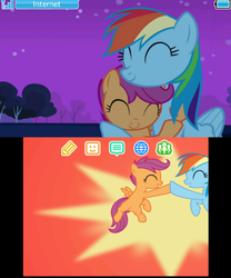 Size: 399x480 | Tagged: safe, rainbow dash, scootaloo, brotherhooves social, sleepless in ponyville, 3ds, homebrew