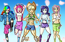 Size: 2000x1300 | Tagged: safe, artist:rockzerox, applejack, fluttershy, pinkie pie, rainbow dash, rarity, human, equestria girls, abs, arm wraps, armpits, athletic tape, belly button, clothes, feet, foot wraps, gloves, hand wraps, hat, hoodie, human coloration, humanized, martial artist rarity, martial arts, midriff, mma, mma gloves, request, requested art, sports bra, tape