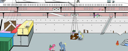 Size: 1280x512   Tagged: safe, mr. turnip, oc, oc:gunrunner, apple cider, cargo, hat, vocational death cruise