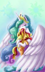 Size: 800x1280 | Tagged: safe, artist:chanceyb, princess celestia, sunset shimmer, alicorn, pony, unicorn, begging, crying, forgiveness, heartwarming in hindsight, hug, momlestia, reunion, tears of joy, the prodigal sunset